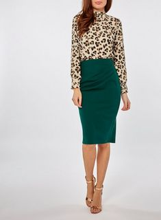 8e7d8c9e1a Womens   Green Ruched Pencil Skirt- Green
