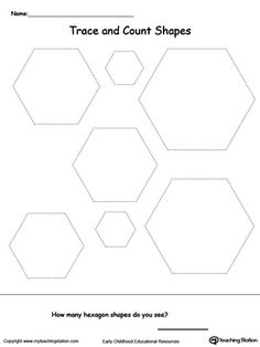 Trace and Count Hexagon Shapes: Practice shape recognition or teach your child about the different kinds of shapes with this  shape printable activity worksheet.