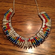 Necklace I made using beads and safety pins!!