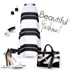 'Black & White Stripe', created by ladyjaynne on Polyvore