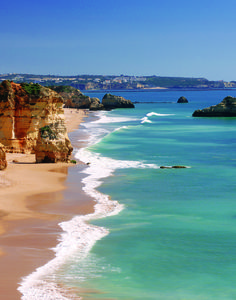 One of the best beaches in Europe, Praia da Rocha in the beautiful Algarve. Portugal