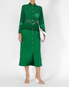 Discover the Medina Satin Shirt Dress by BEDOUIN at The Modist. Modest Fashion, Fashion Shoes, Fashion Dresses, Maxi Dress With Sleeves, Shirt Dress, Mode Blog, Satin Shirt, Dress Images, Green Fashion