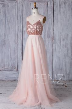 Rose Gold Sequin Bridesmaid Dress A Line Tulle Wedding