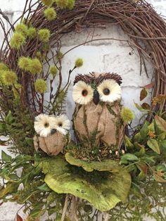 Automne Owl guirlande, guirlande dautomne pour porte, automne porte Couronne, porte Couronne, Couronne de vigne, Couronne de fleurs de soie,