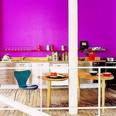 The kitchen can be easily overlooked so bring a fresh look to your kitchen by adding color with these creative kitchen ideas. Bright Kitchen Colors, Purple Kitchen, Bright Kitchens, Kitchens Of Distinction, New York Townhouse, Crazy Kitchen, Kitchen Pictures, Kitchen Ideas, Kitchen Designs