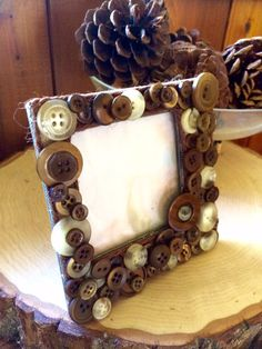 Country vintage button picture frame by BurlapbuttonsNmore on Etsy