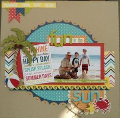 The first thing you need to know about making a scrapbook is that it isn't a complicated process at all. Scrapbooking isn't just for the 'crafty' person among Beach Scrapbook Layouts, Travel Scrapbook Pages, Vacation Scrapbook, Scrapbook Layout Sketches, Scrapbooking Layouts, Scrapbook Printables, Scrapbook Paper Crafts, Scrapbook Cards, Picture Scrapbook