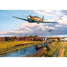 """""""Pinpoint Navigation"""" - #Artist Stephen Brown has captured a stunning moment in time where beautiful old #aircrafts meet graceful and elegant narrow #boats in a picturesque #rural setting."""
