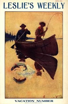 Leslie's Weekly - June 1910 Woman and guide fishing from birch bark canoe.