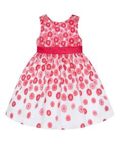 Look what I found on #zulily! Coral Ombré Floral Dress - Girls by American Princess #zulilyfinds