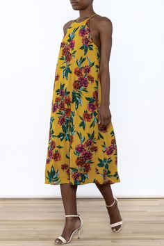 Floral printed midi dress with a round neckline, racer back and button closure.    Autumn Fields Midi by Everly. Clothing - Dresses - Casual Clothing - Dresses - Floral Clothing - Dresses - Midi North Carolina