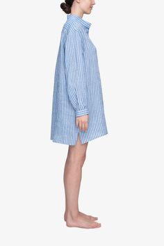 One of our most luxurious fabrics of the season, this Italian linen features a skinny double stripe. In our bestselling nightshirt, it could be the most luxurious pajamas in your closet. Made in Canada. Free shipping and easy returns. More at intothebedroom.com. Sleep Shirt, Linen Shorts, Striped Linen, Oversized Shirt, Blue Stripes, Fit Women, Fabrics, Pajamas, Canada