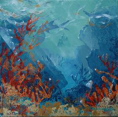 Coral and filtered light, this under the sea scene was painted using handmade stamps and acrylic paint on canvas