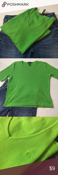 Lauren bright green ribbed vneck tee Lauren bright green ribbed vneck tee GUC Lauren Ralph Lauren Tops Tees - Short Sleeve