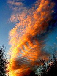"""Clouds """"on fire"""".Photo by Karen Moen"""