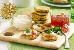 These vegie-packed fritters make a great brunch dish, a light lunch or can even be served as canapes at your next party Vegetarian Entrees, Vegetarian Options, Zucchini Corn Fritters, Veggie Delight, Cooking For A Crowd, Brunch Dishes, Sweet Chilli, Appetisers, Yummy Snacks