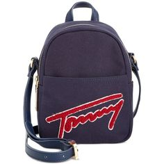 Tommy Hilfiger Aurora Embellished Canvas Mini Backpack Crossbody ($88) ❤ liked on Polyvore featuring bags, backpacks, mini rucksack, mini backpack, tommy hilfiger, canvas rucksack and canvas crossbody