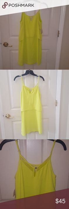 NWT  Citron Neon dress. NWT Neon Dress, perfect for a sunny day. Can dress up with heels or dress down with sandals. Only selling because it was too small on my bust😔😭 Bar III Dresses Midi