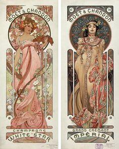 Motifs Art Nouveau, Art Nouveau Mucha, Design Art Nouveau, Alphonse Mucha Art, Art Nouveau Poster, Art Design, Art Nouveau Tattoo, Collage Poster, Kunst Poster