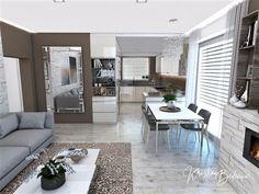 Dizajn kuchyne s obývačkou som navrhla pre pár, ktorý mal jasnú predstavu, aké základné materiály a farebnú kombináciu chcú mať vo svojom novom interiéri. Living Room Kitchen, Luster, Design, Elegant, Kitchen Living