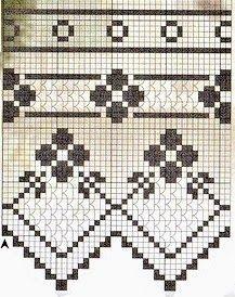 filet crochet a Filet Crochet Charts, Crochet Borders, Crochet Cross, Crochet Motif, Crochet Doilies, Crochet Stitches, Crochet Patterns, Crochet Curtain Pattern, Crochet Curtains