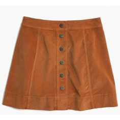 MADEWELL Velveteen Metropolis Snap Skirt ($88) ❤ liked on Polyvore featuring skirts, mini skirts, burnt sienna, stretchy mini skirts, brown a line skirt, madewell skirts and short a line skirt
