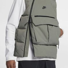Nike / Nike Sportswear / Tech Pack Down-Fill / Dark Stucco/Black/Black / Vest / 2018 Nike Tech, Nike Sportswear, Sport Chic, Sport Fashion, Mens Fashion, Tech Pack, Black Vest, Look Cool, Mantel