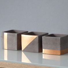 Drei CHIC-Töpfe aus schiefergrauem und kupferfarbenem Beton / Quadratisches Pflanzgefäß ... - Dekoration Selber Machen