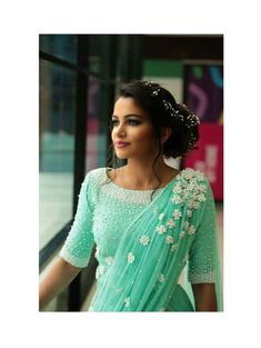 Net blouse designs are a huge rage! In this net blouse designs catalogue, there are net blouse back neck designs, boat neck blouse designs with net for you to pin! Saree Jacket Designs, Netted Blouse Designs, Saree Blouse Patterns, Designer Blouse Patterns, Lehenga Designs, Saree Blouse Designs, Designer Dresses, Designer Sarees, Trendy Sarees