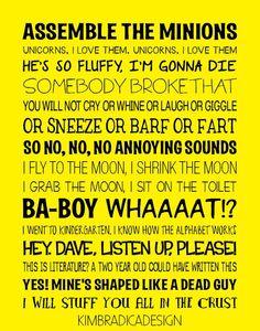 Despicable Me Quotes Subway Art 11x14 Digital by KimBradicaDesign, $20.00