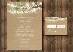 Rustic Wedding Invitation with Lights in Tree on Kraft Paper Background, Digital File by RockStarPress on Etsy https://www.etsy.com/listing/178896336/rustic-wedding-invitation-with-lights-in