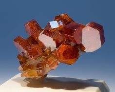 Vanadinite on Barite  Locality: Boulmadeen Mine, Mibladen, Morocco Size: Specimen is 1.13 inches wide.