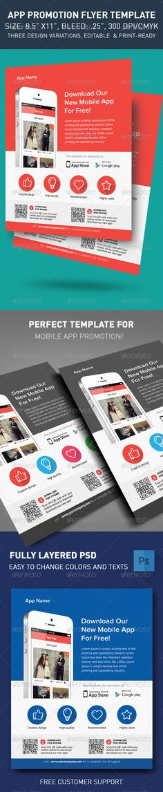 Modern App Flyers  #GraphicRiver         Promotion flyer template with flat style for your new mobile application! Great for mobile apps or games.   FILES INFORMATION: