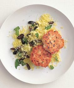 Dijon Salmon Cakes With Couscous | No time to cook when you get home? Stock up on these fridge- and freezer-friendly meals ahead of time, and you'll never go hungry again.