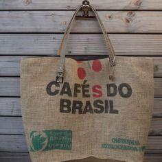 Tote bag - sac cabas toile de jute de sac à café du brésil recyclé - upcycling - réversible