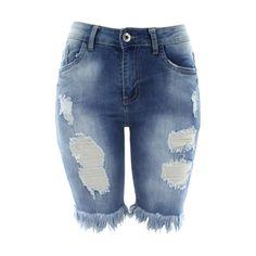 Prestige Denim - Women's Rips Bttm Fringe Bermuda Shorts - Light Blue