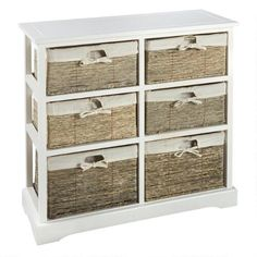 Stacked With Storage Our Casual Cabinet Brings Personality And Style To Your Home It Features An Open Wood Frame Six Fabric Lined Maize Baskets