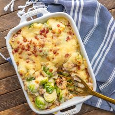 BRUSSELS SPROUT GRATIN with BACON is the ultimate holiday side dish! Who can resist brussels sprouts when sprinkled with bacon and SO MUCH CHEESE! The cream sauce inside is so easy and delicious, making this a Thanksgiving favorite for our family.