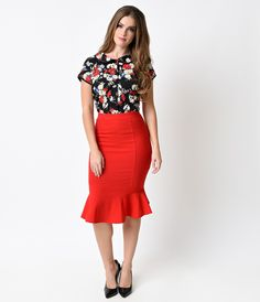 Collectif Retro Red Winifred High Waist Fishtail Skirt