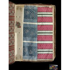 Swatch book Place of origin: Lyons, France (made) Date: ca. 1763-1764 (made) Artist/Maker: unknown (production) Materials and Techniques: Silk, taffeta, linen, brocaded, leather bound, paper and ink, sealing wax Credit Line: Acquired with the help of Marks and Spencer Ltd and the Worshipful Company of Weavers Museum number: T.373-1972 Gallery location: In Storage