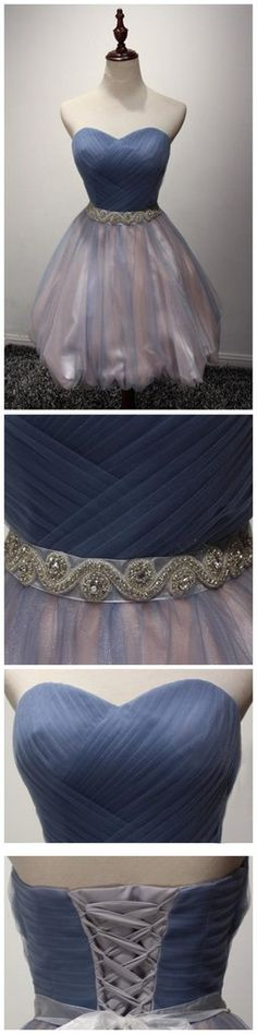 Strapless Sweetheart Tulle Cute Homecoming Prom Dresses, Affordable Sh – SposaDesses