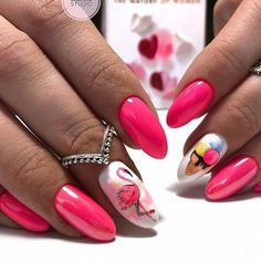 There are a variety of unique nail art designs. Flamingo nail design seems to be the best trend in the current season. Flamingos on white or pink backgrounds are great nail art designs. Of course, Flamingo Nail design is not limited to this, nail art Nail Manicure, Toe Nails, Pink Nails, Long Nail Designs, Nail Art Designs, Stylish Nails, Trendy Nails, Almond Nails Designs, Beach Nails