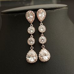 Bridal Earrings ROSE GOLD Wedding Jewelry Wedding Earrings Cubic Zirconia Teardrop Posts with Bridal Jewelry