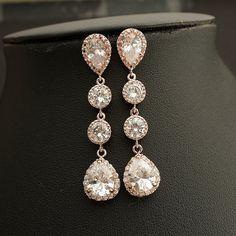 Bridal Earrings ROSE GOLD Wedding Jewelry Wedding Earrings Cubic Zirconia Teardrop Posts with Bridal Jewelry
