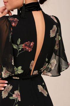 Every Little Thing Black Floral Print Maxi Dress Every Little Thing - Schwarzes Maxikleid mit Blumen Elegant Dresses, Pretty Dresses, Beautiful Dresses, Awesome Dresses, Ruffle Dress, Boho Dress, Dress Casual, Dress Formal, Floral Print Maxi Dress