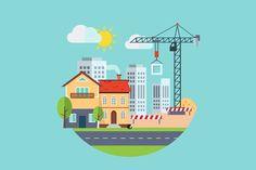 Flat design urban landscape. Graphic Design Infographics #landscape