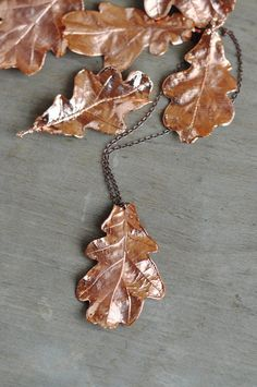 Real oak leaves pendant, electroformed Botanical Jewelry, Copper Dipped, natural leaf, woodland , electroforming nature, copper electroform