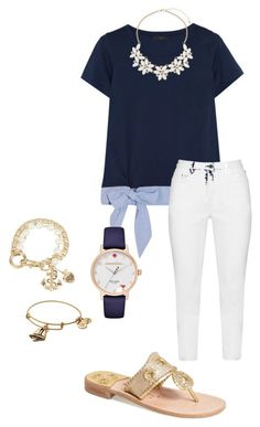 """School outfit"" by sydneyyhardman ❤ liked on Polyvore featuring J.Crew, Zhenzi, Betsey Johnson, Kate Spade, Alex and Ani, Jack Rogers and Dorothy Perkins"