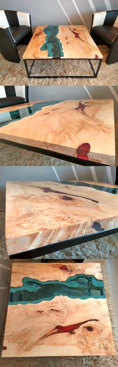 River coffee table made of old solid timber. Filled with red epoxy resin and…