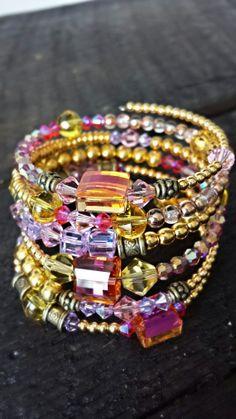 Handmade Gold, Pink and Purple wrap bracelet - 6 loops - beaded bracelet - memory wire bracelet - unique